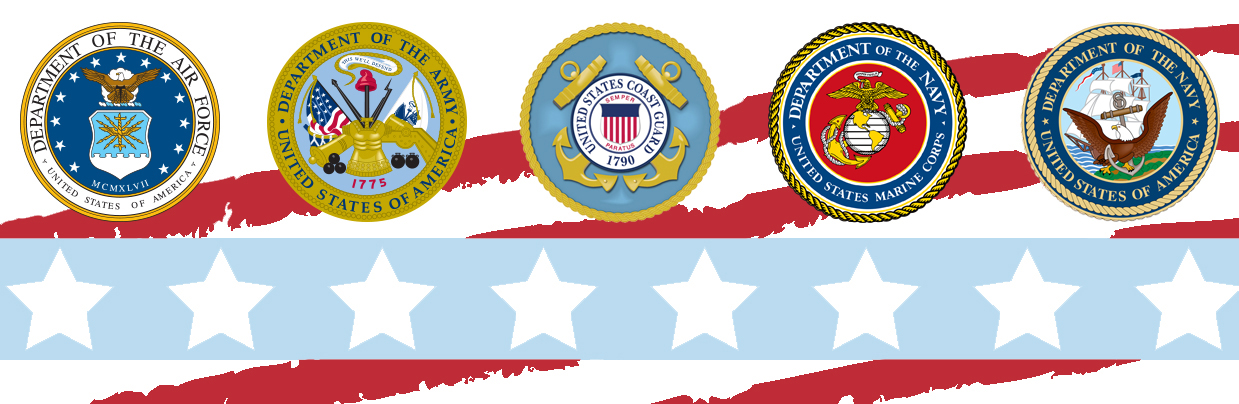 U.S. Armed Forces badges displayed over a starts and stripes backgroud