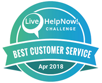 This is the logo for the Live help Best Customer Service Award for April 2018.